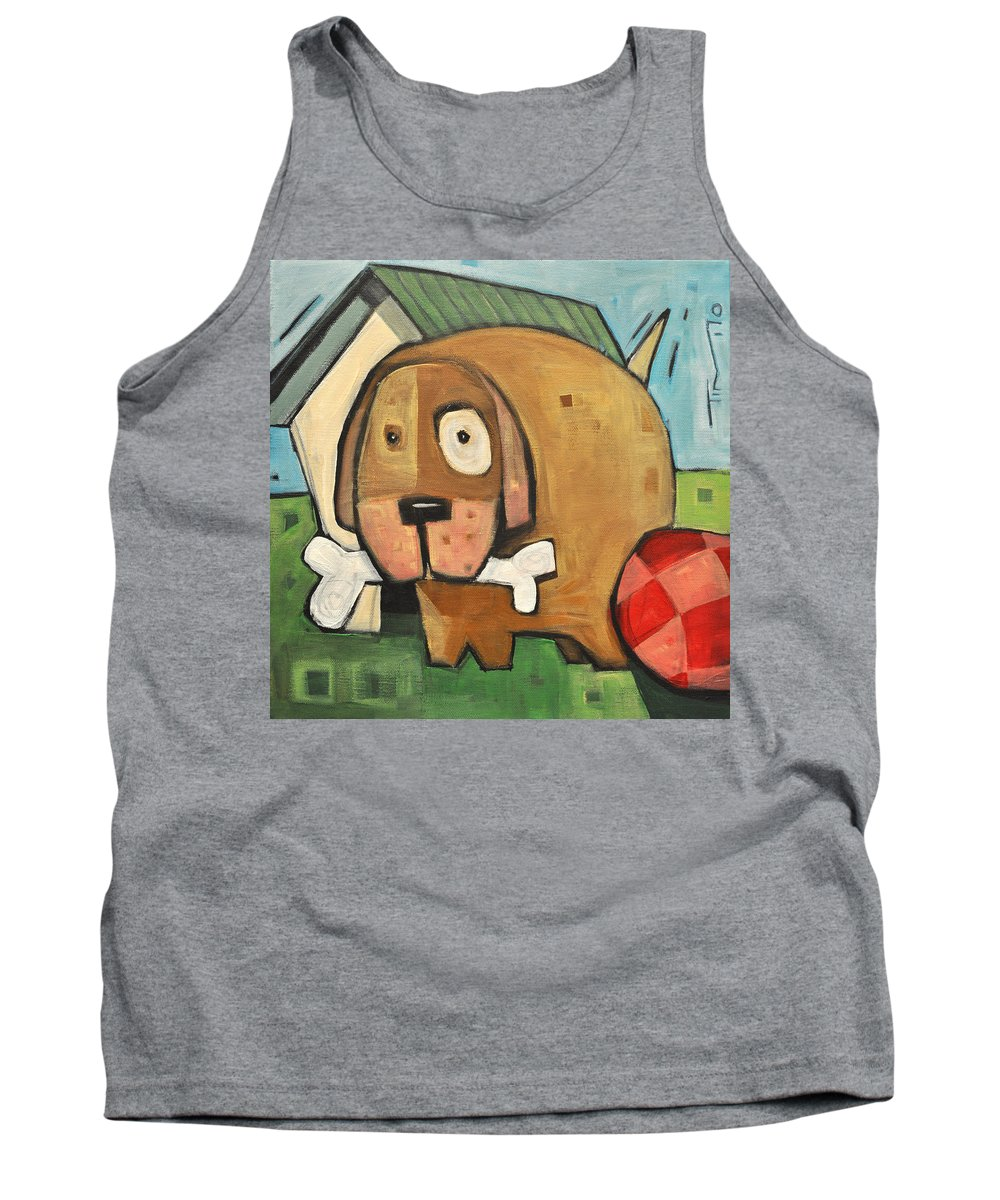 Dog Tank Top featuring the painting Square Dog by Tim Nyberg