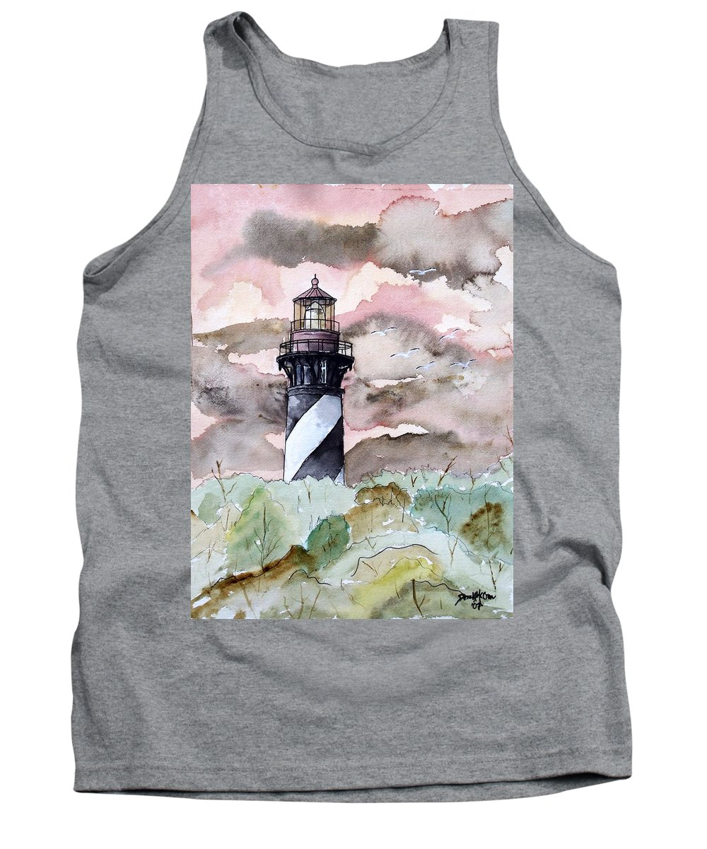 Lighthouse Tank Top featuring the painting St Augustine Lighthouse by Derek Mccrea