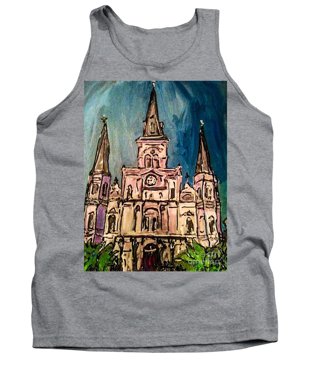 St. Louis Cathedral Tank Top featuring the painting St. Louis Cathedral by Paula Baker