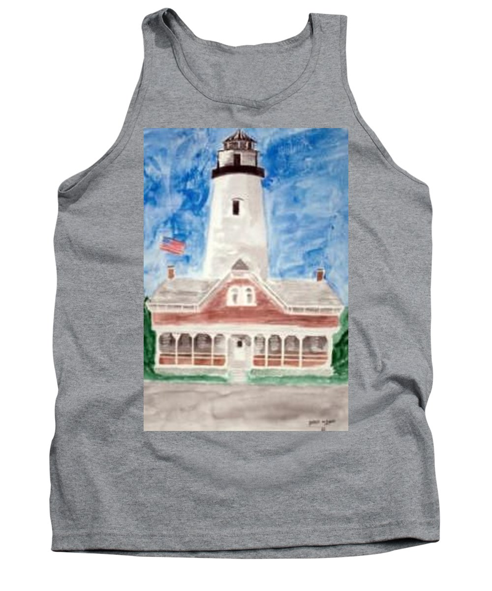 Watercolor Landscape Lighthouse Seascape Painting Tank Top featuring the painting St Simons Lighthouse Nautical Painting Print by Derek Mccrea