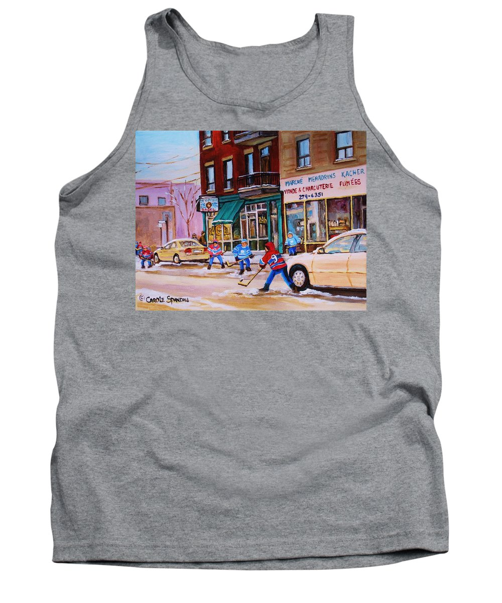 Montreal Tank Top featuring the painting St. Viateur Bagel With Boys Playing Hockey by Carole Spandau