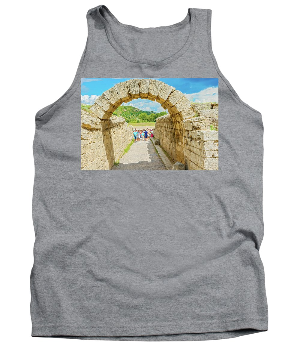 Crypt Tank Top featuring the photograph Stadium At Olympia, Greece by Marek Poplawski