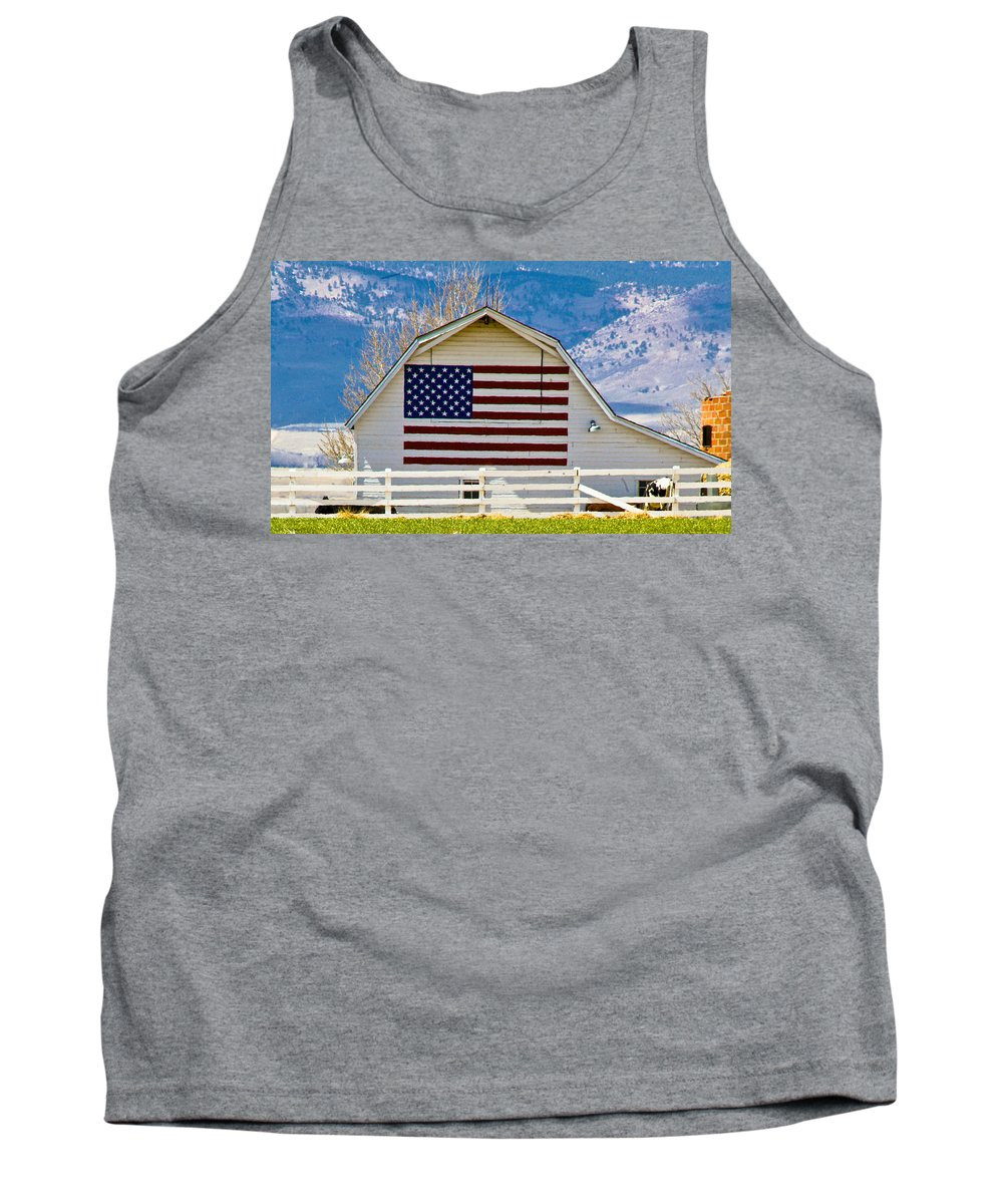 Barn Tank Top featuring the photograph Stars Stripes And Barns by Marilyn Hunt