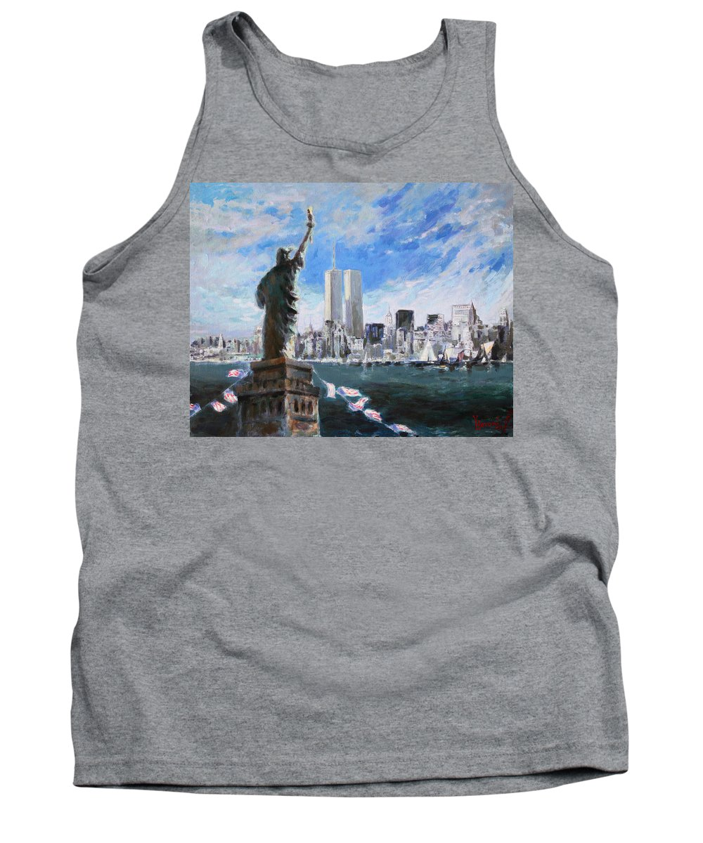 Landscape Tank Top featuring the painting Statue Of Liberty And Tween Towers by Ylli Haruni