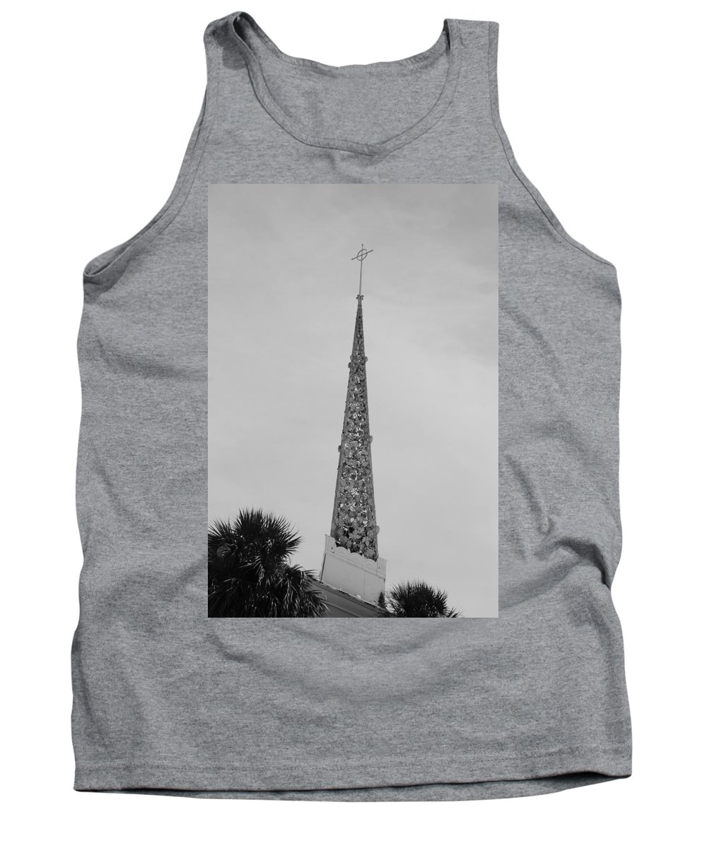 Black And White Tank Top featuring the photograph Steeple Cross In Black And White by Rob Hans