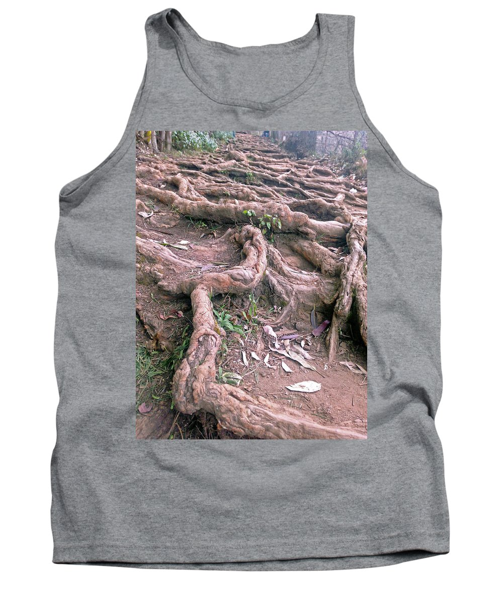 Nature Tank Top featuring the pyrography Steps With Roots by Lakshmi Vandana