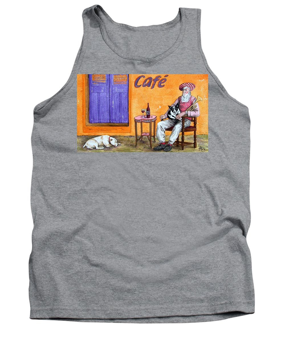 Music Tank Top featuring the painting Still Life With Dogs And Music by Gale Cochran-Smith
