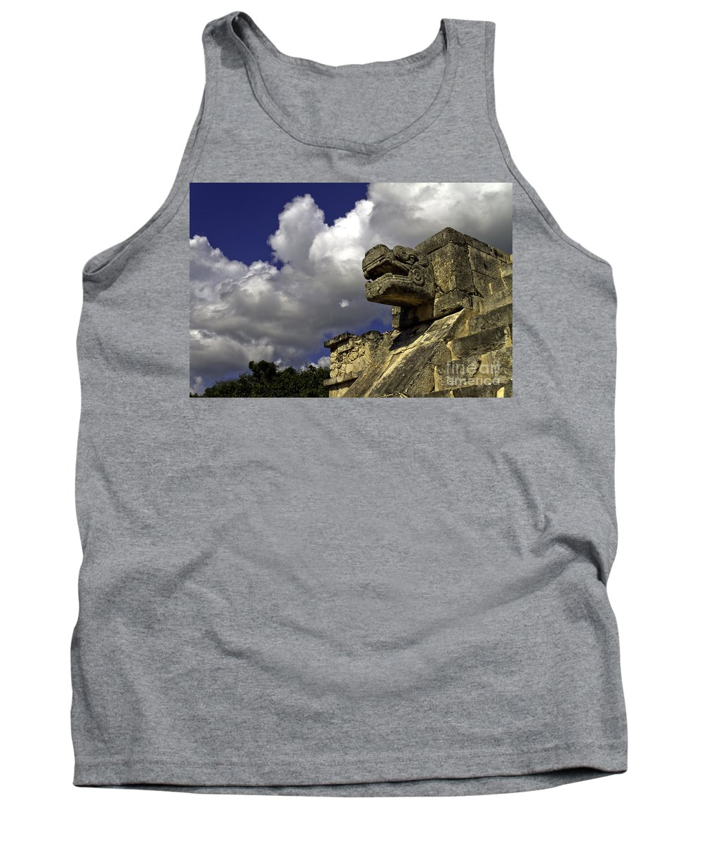 Chichen Itza Tank Top featuring the photograph Stone Sky And Clouds by Ken Frischkorn