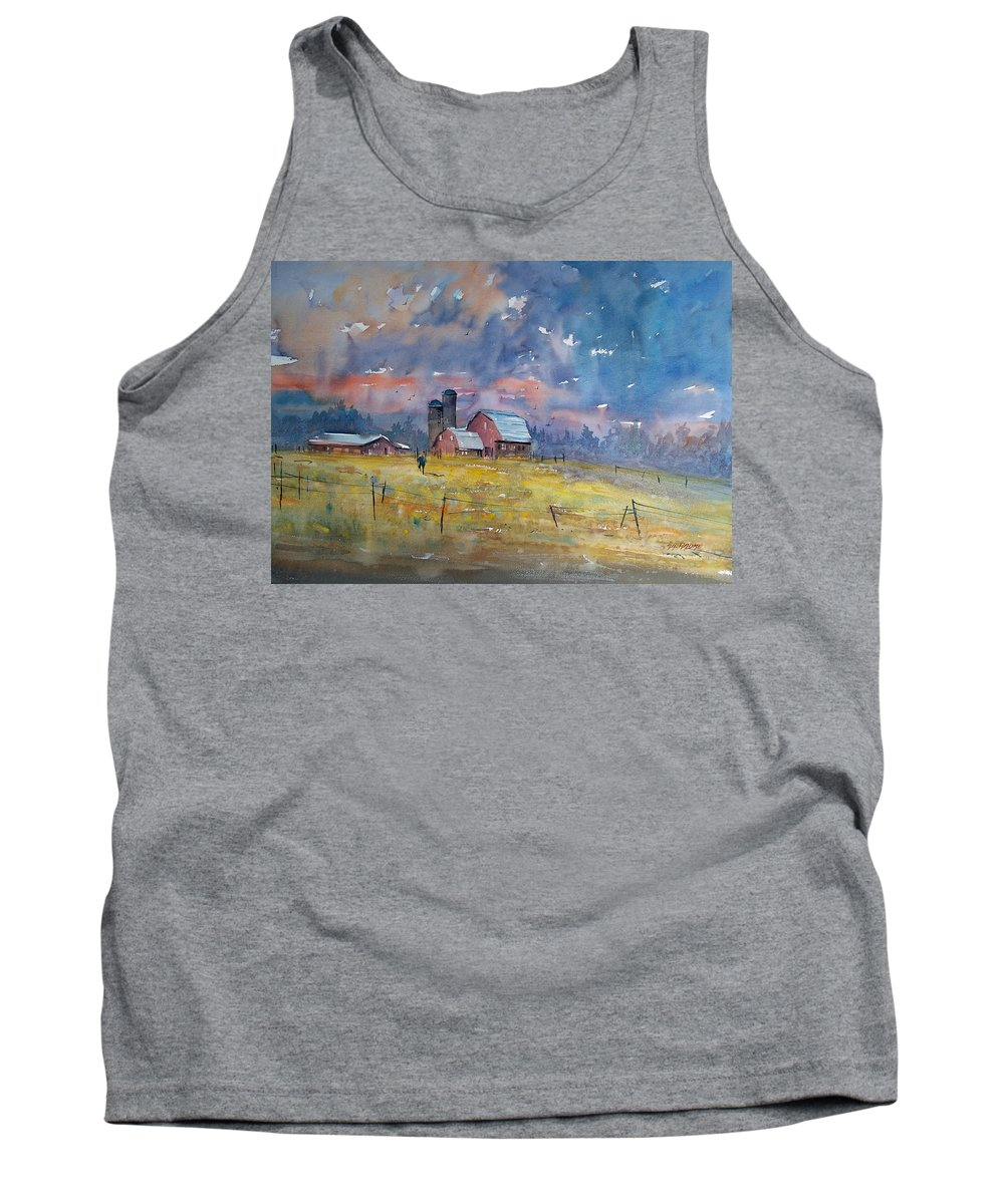 Watercolor Tank Top featuring the painting Storm Brewing by Ryan Radke