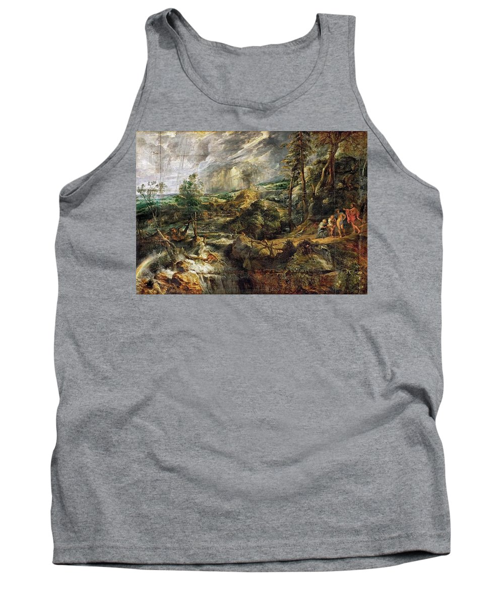 Tree Tank Top featuring the digital art Stormy Landscape - 1625 Peter Paul Rubens by Eloisa Mannion