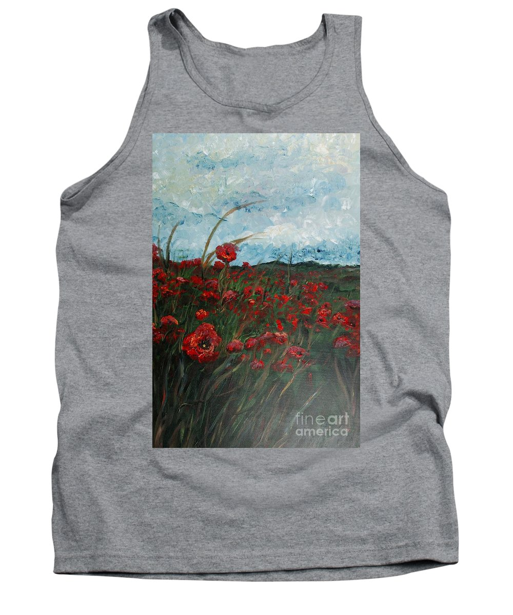 Poppies Tank Top featuring the painting Stormy Poppies by Nadine Rippelmeyer