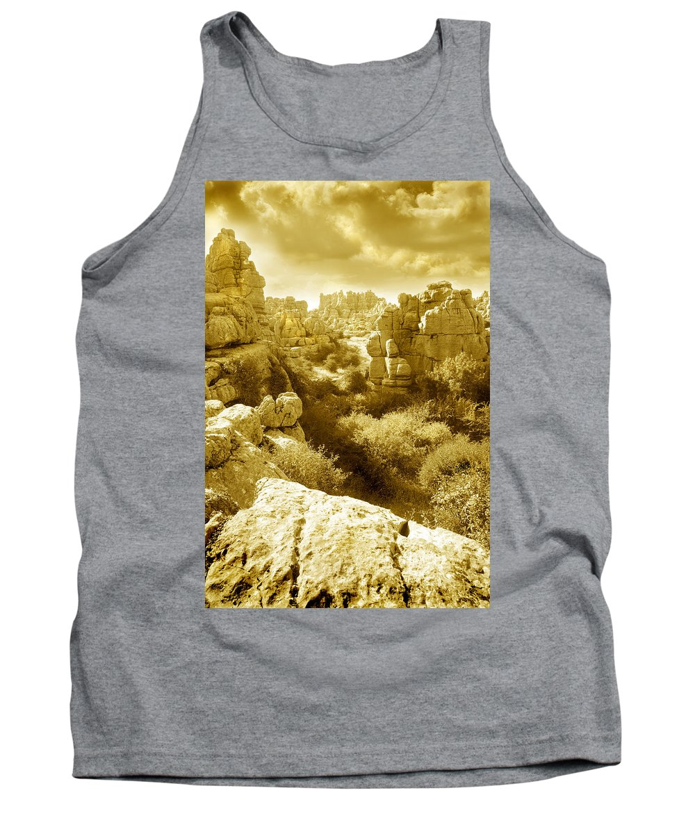 Rock Tank Top featuring the photograph Strange Rock Formations At El Torcal Near Antequera Spain by Mal Bray