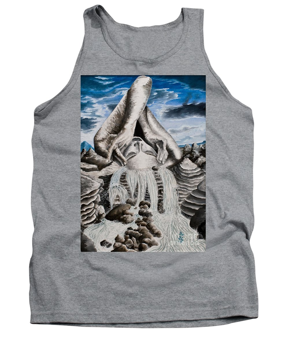 Landscape Portrait Woman Mountains Rocks Stream Water Tank Top featuring the painting Streams Of Thought by Pauline Sharp