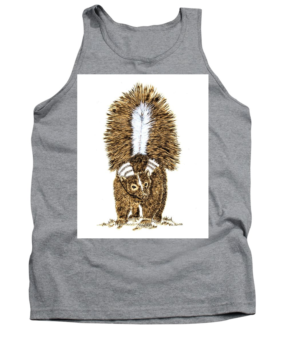 Skunk Tank Top featuring the pyrography Striped Skunk by Pat Sloss