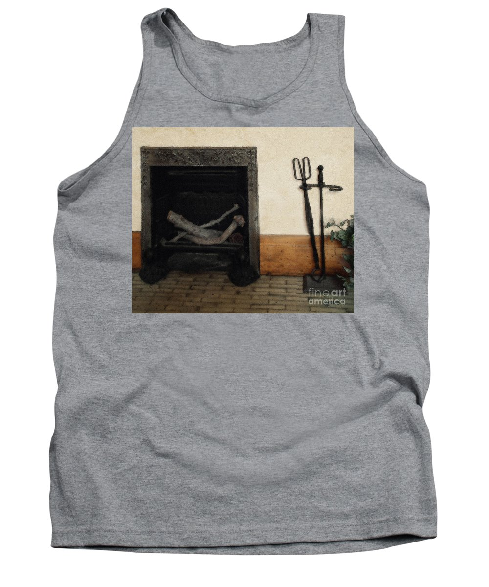 Fireplace Tank Top featuring the painting Study In Iron, Wood And Stone by RC DeWinter