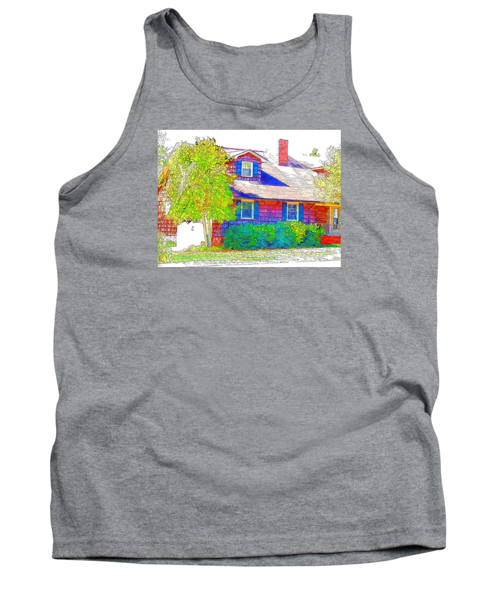 Suburban Home Tank Top featuring the painting Suburban Home 4 by Jeelan Clark