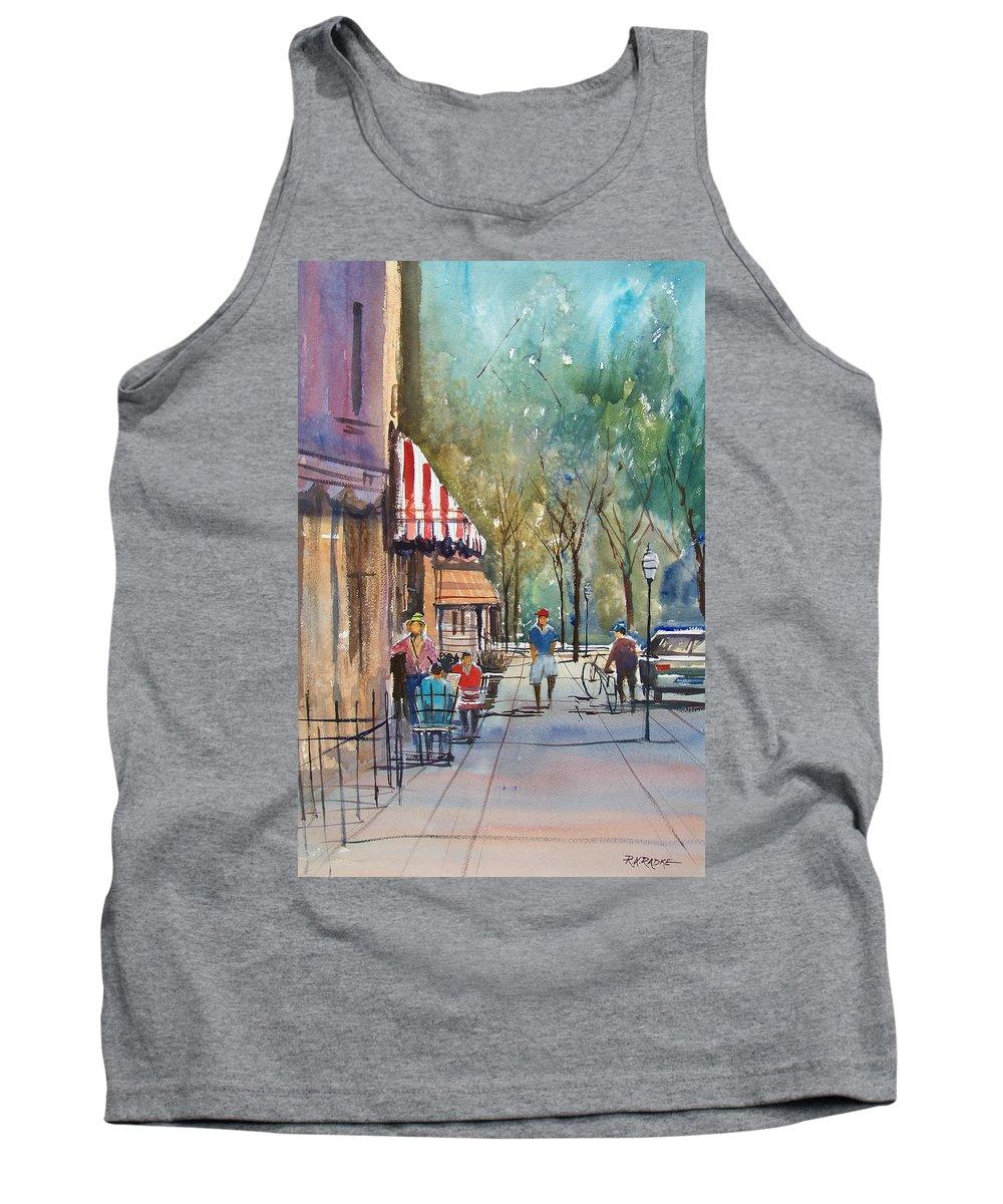 Street Scene Tank Top featuring the painting Summer In Cedarburg by Ryan Radke