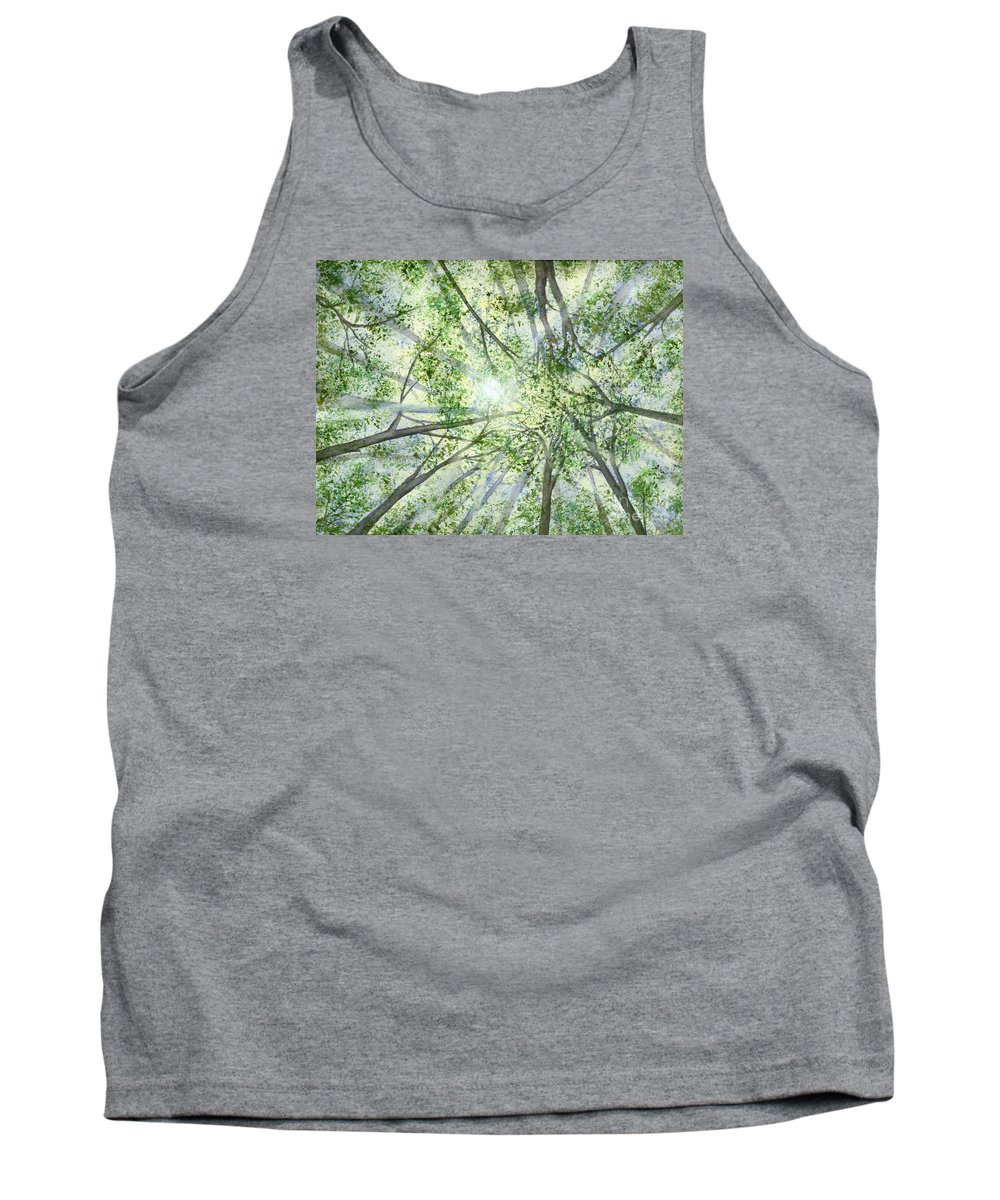 Trees Tank Top featuring the painting Summer Rays by Lynn Quinn