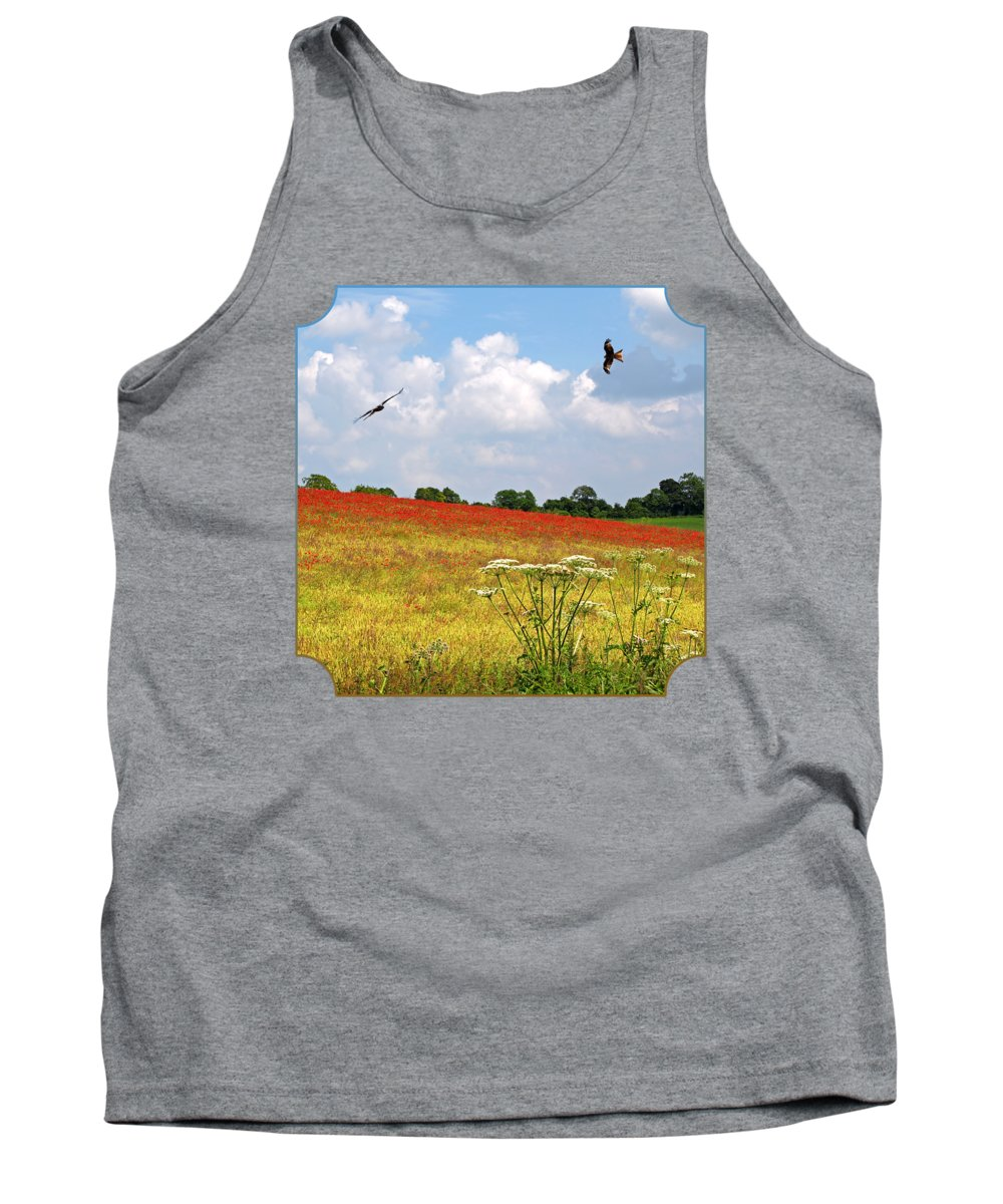 Poppy Field Tank Top featuring the photograph Summer Spectacular - Red Kites Over Poppy Fields by Gill Billington