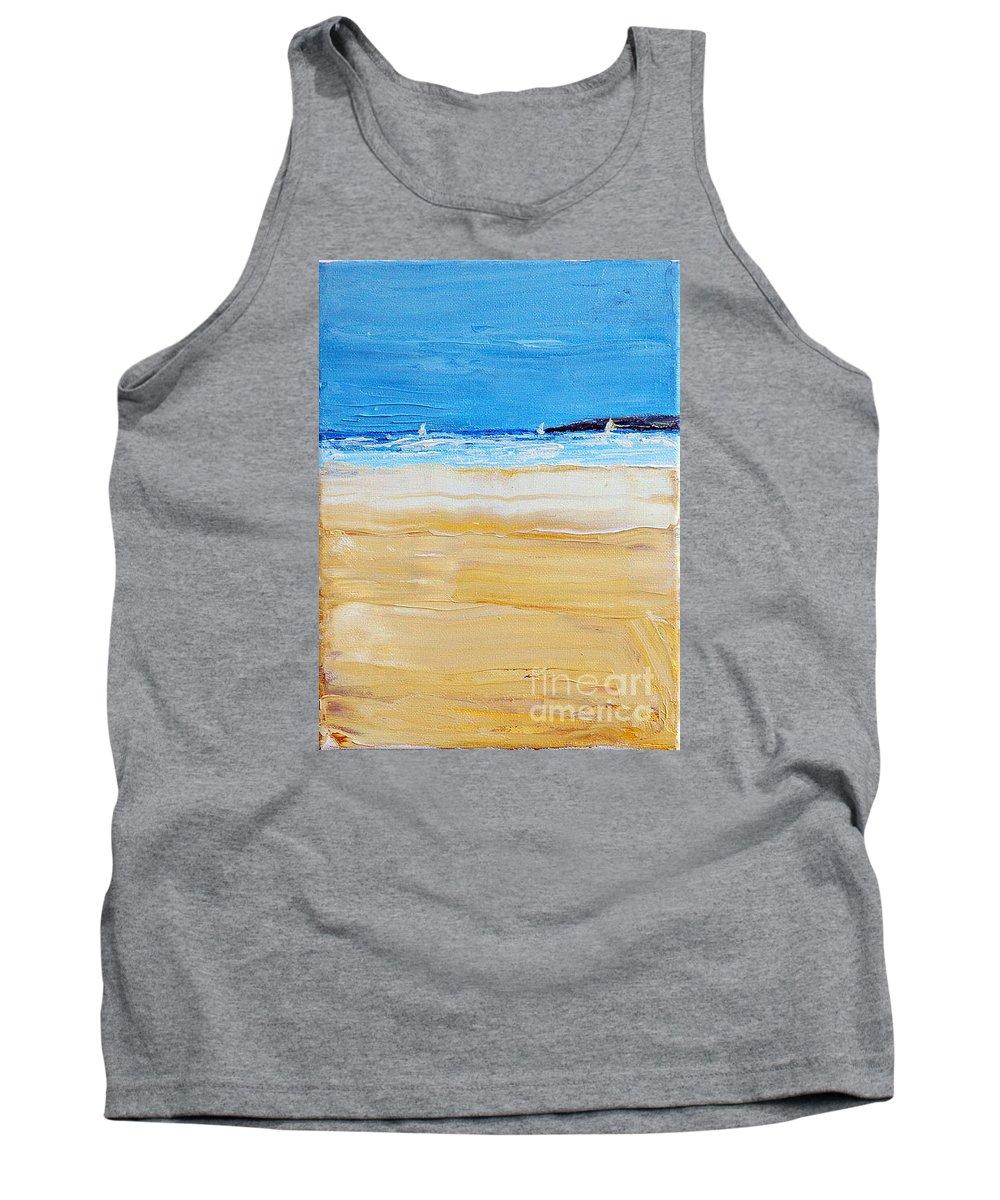 Beach Tank Top featuring the painting Summer by Teresa Wegrzyn