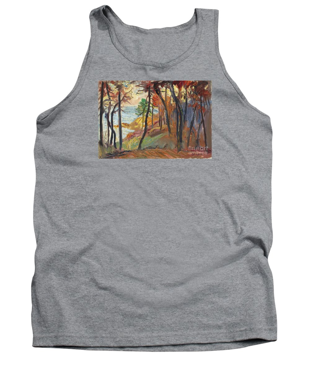 Albert Lebourg (1849 - 1928) Sun Set On The River Risle Tank Top featuring the painting Sun Set On The River Risle by Celestial Images