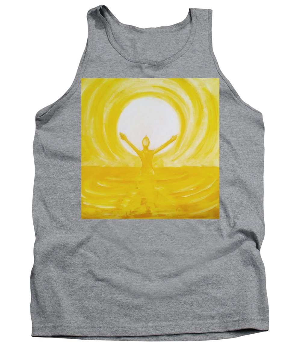 Yellow Tank Top featuring the painting Sun Worship by Mary Vuong