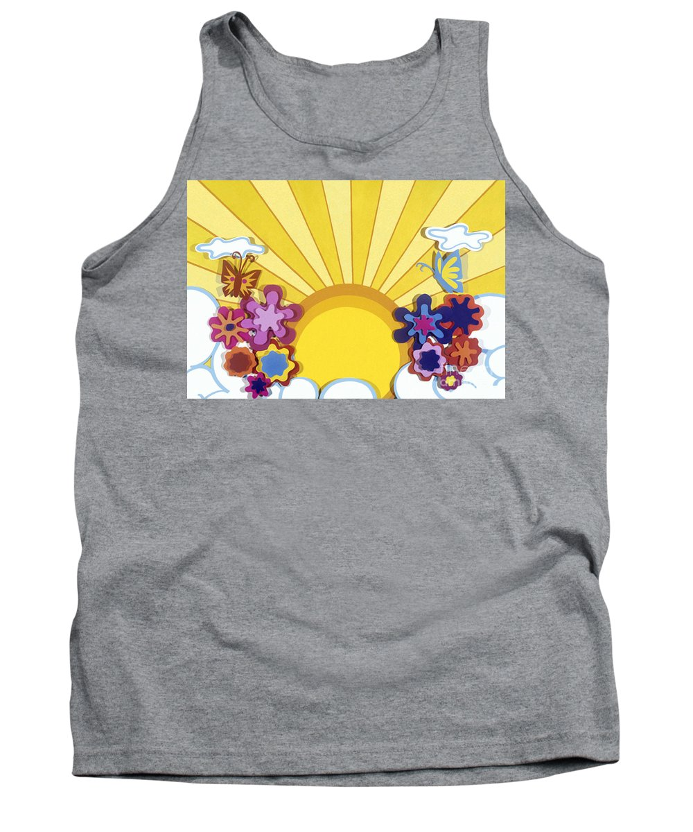 Nature Tank Top featuring the drawing Sunburst by Lucyna A M Green