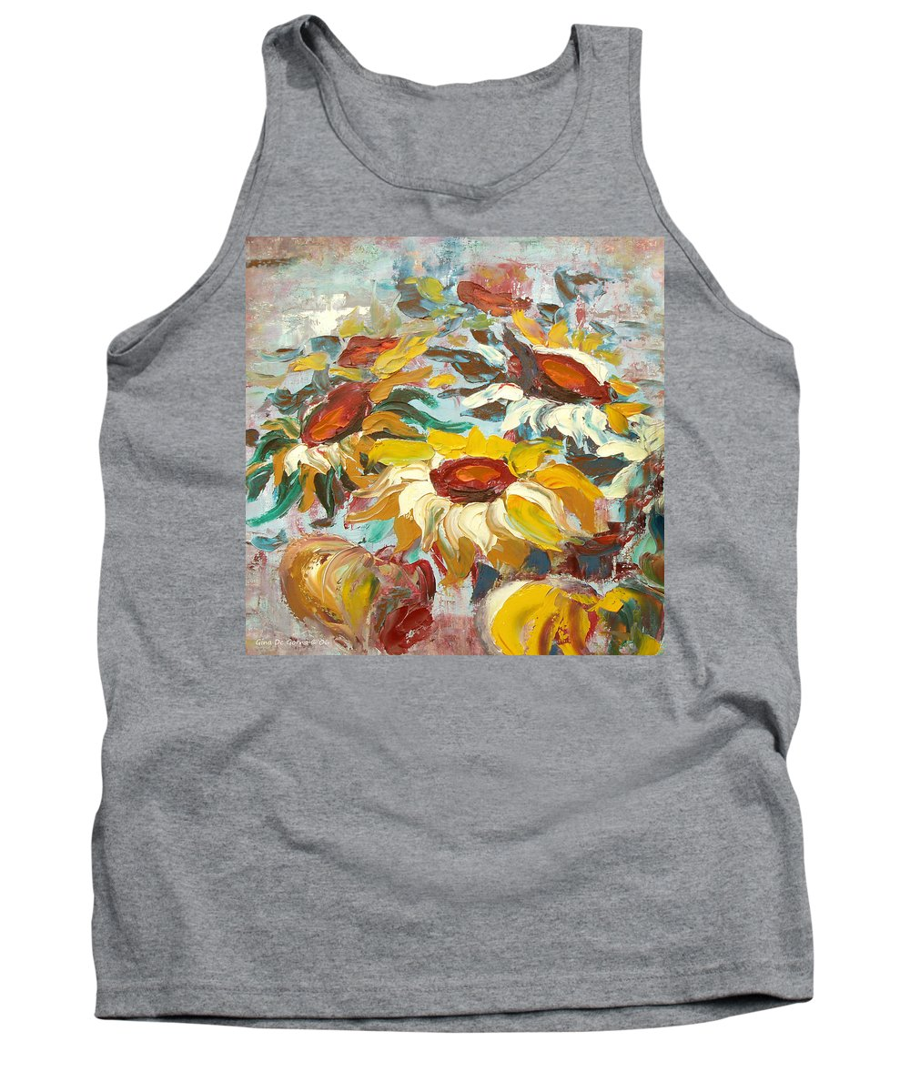 Sunflowers Tank Top featuring the painting Sunflowers 13 by Gina De Gorna