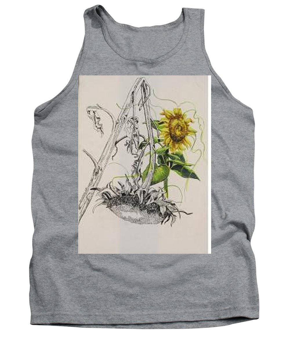 Large Sunflowers Featured Tank Top featuring the painting Sunflowers by Wanda Dansereau