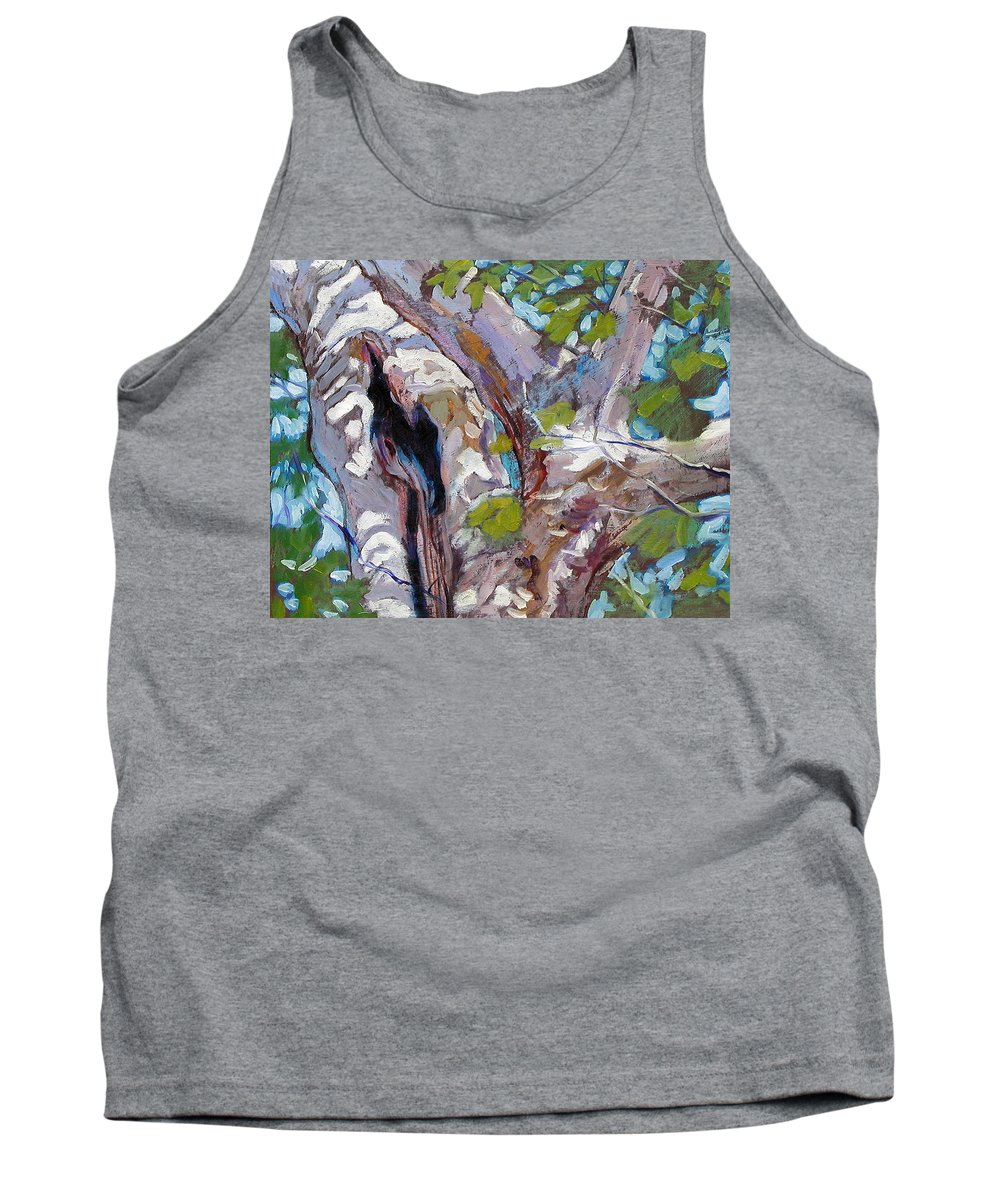 Tree Tank Top featuring the painting Sunlight On Sycamore by John Lautermilch