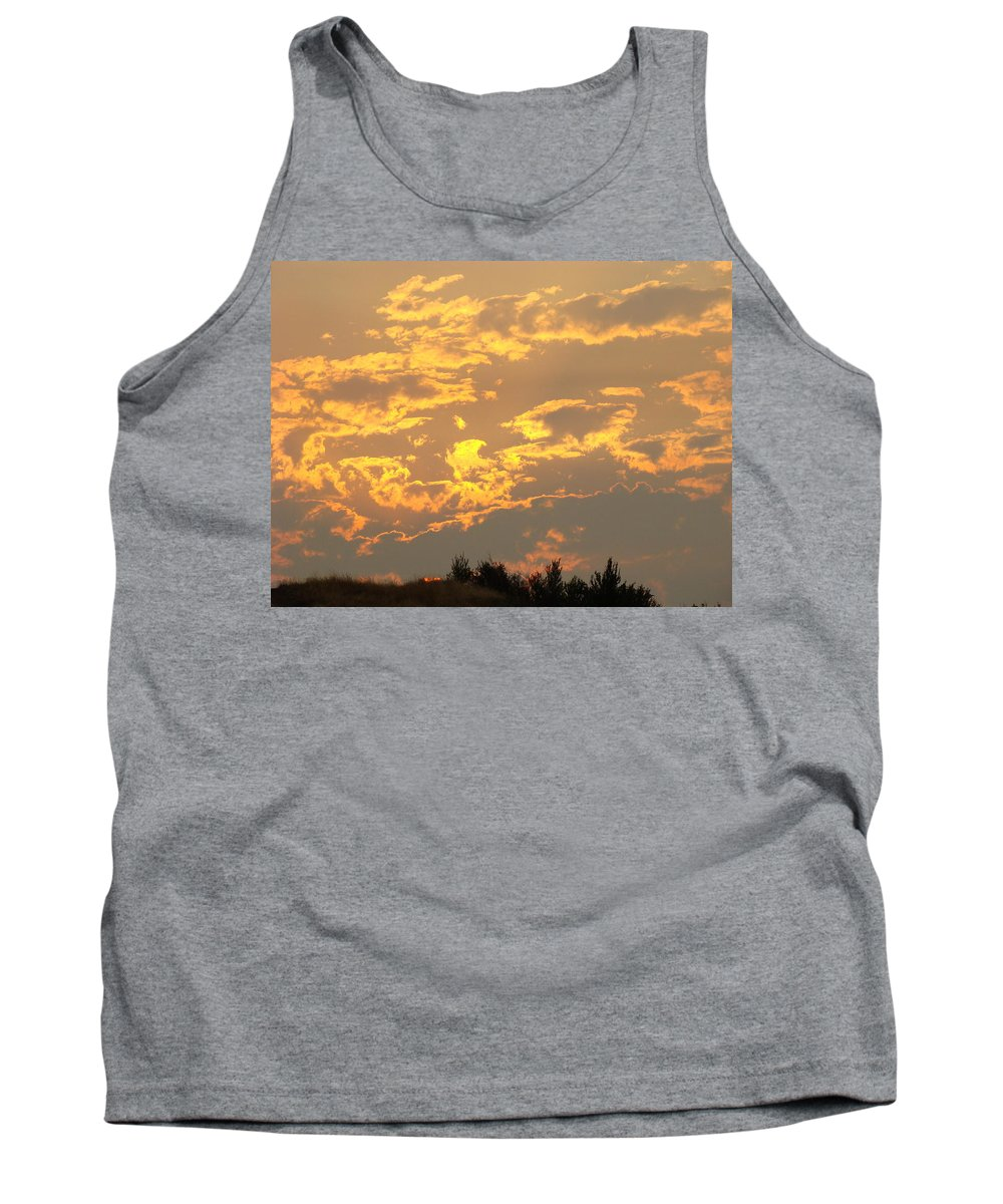 Sunset Tank Top featuring the photograph Sunlit Clouds Sunset Art Prints Gifts Orange Yellow Sunsets Baslee Troutman by Baslee Troutman
