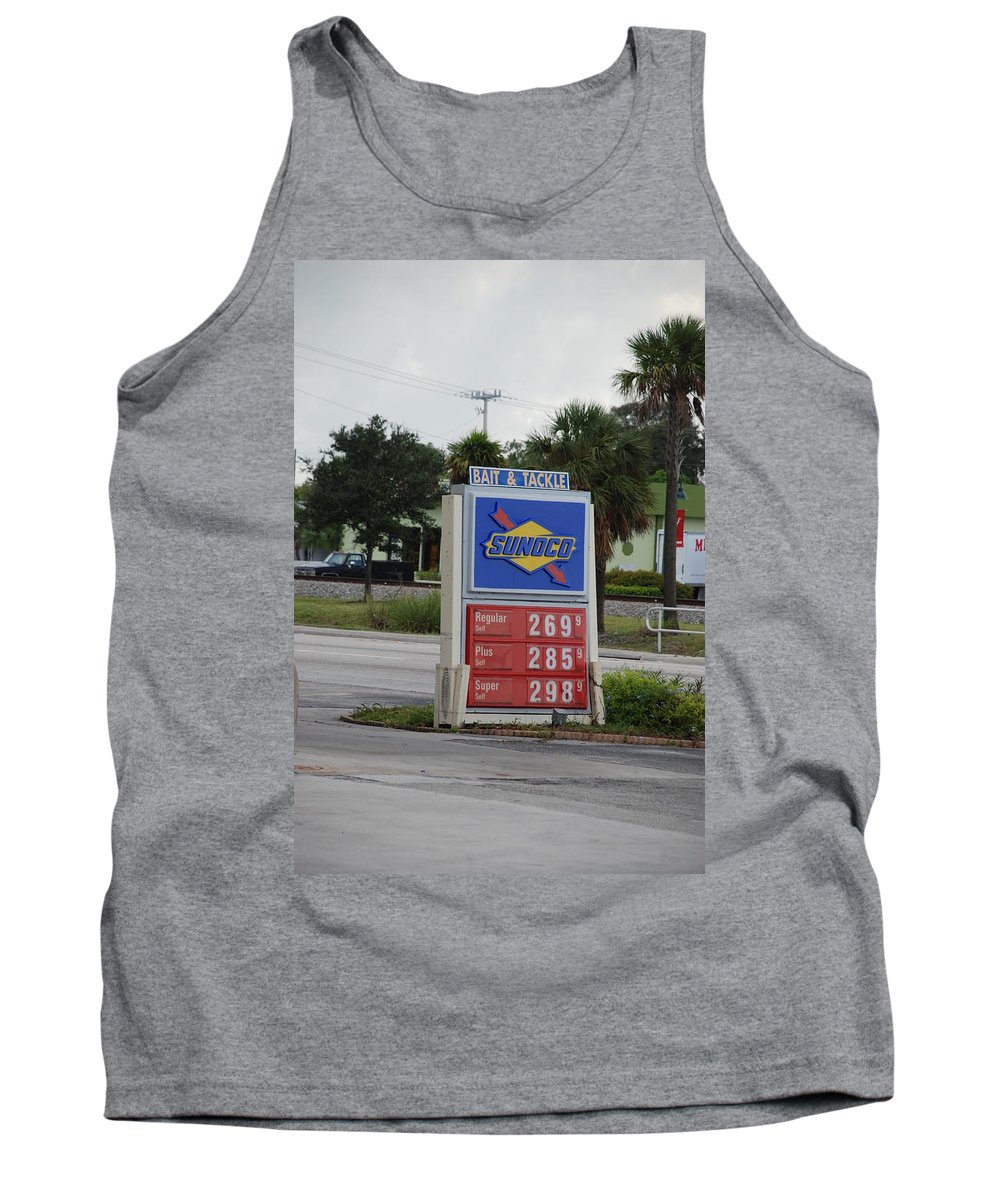 Gas Station Tank Top featuring the photograph Sunoco Bait And Tackle by Rob Hans