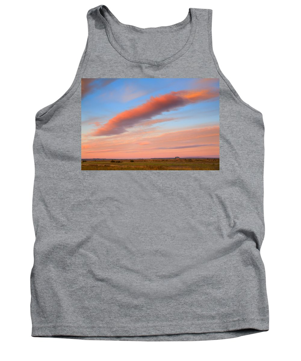 Sunrise Tank Top featuring the photograph Sunrise Clouds And Barn by Irwin Barrett