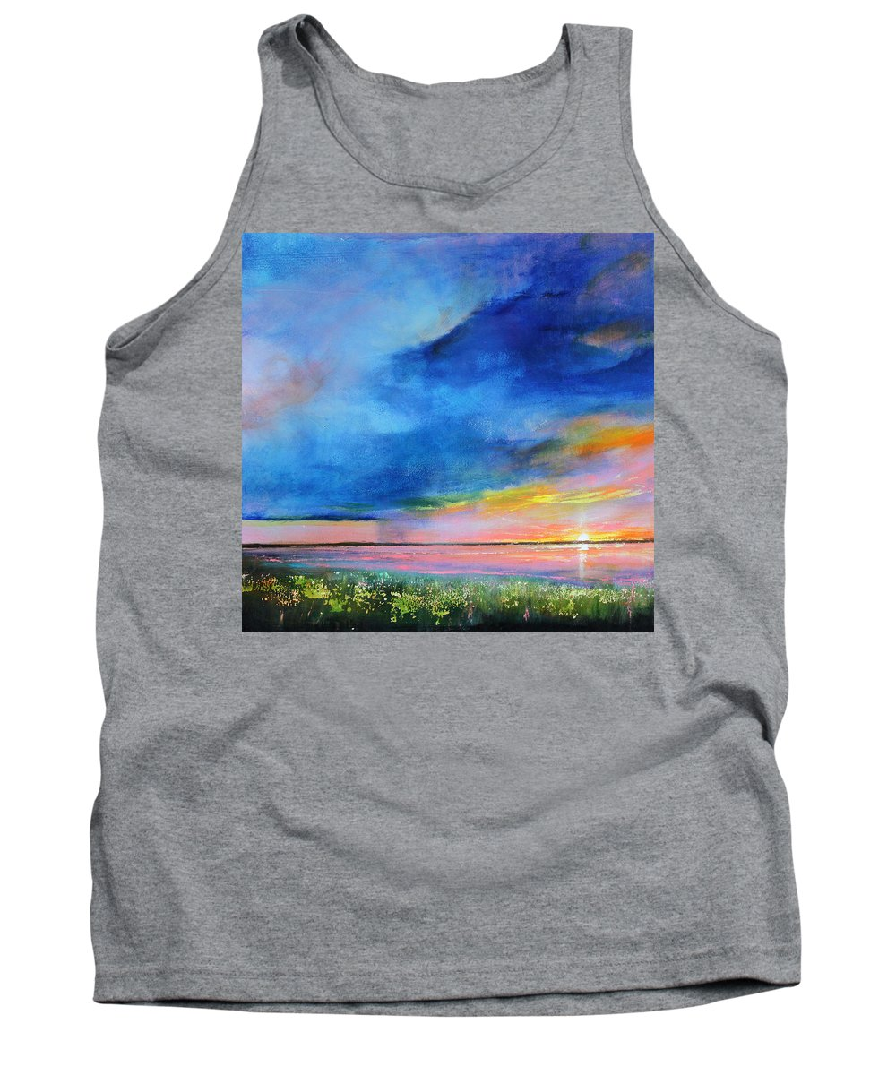 Blue Tank Top featuring the painting Sunrise Magic by Toni Grote