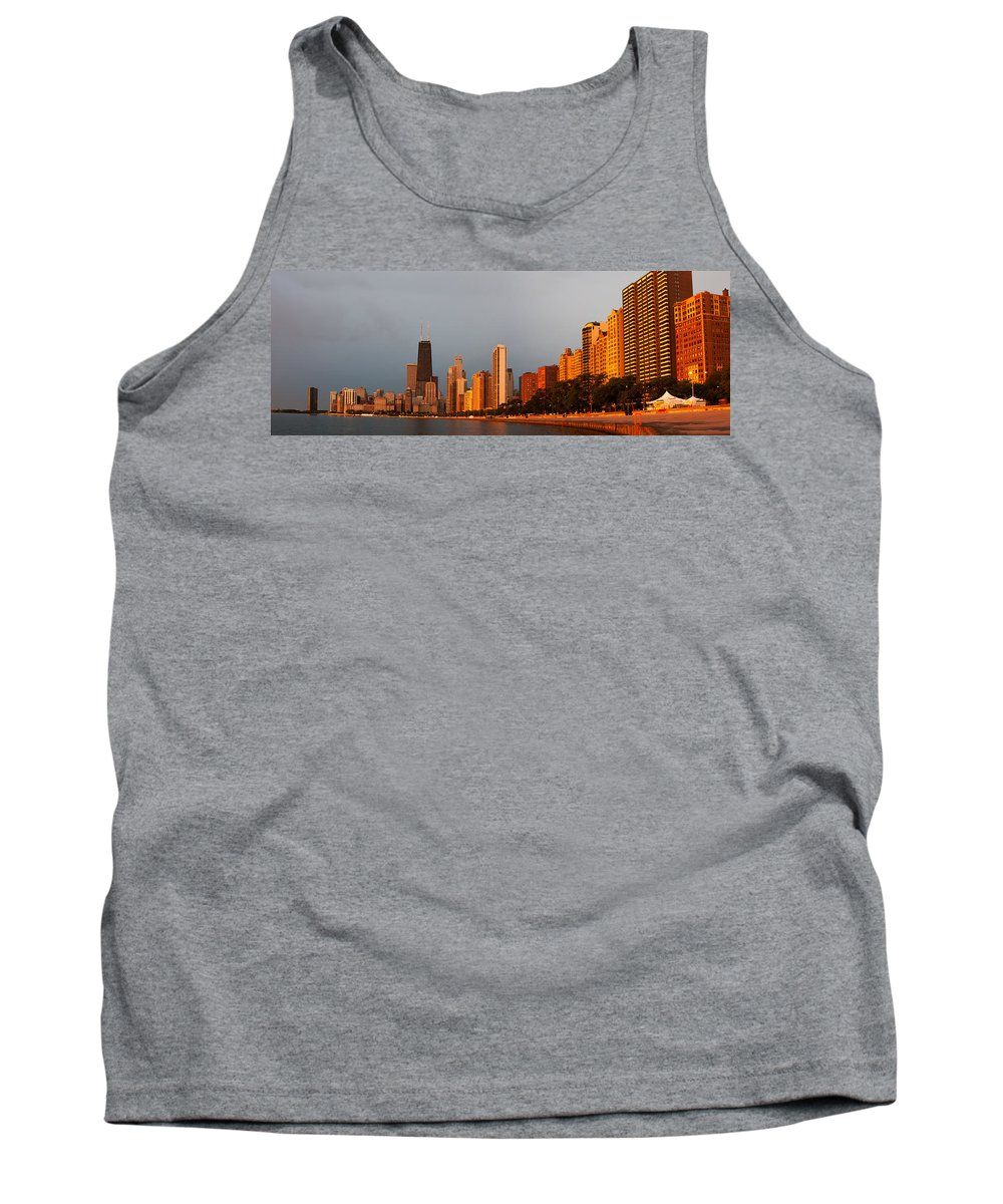 Sunrise Tank Top featuring the photograph Sunrise Over Chicago by Adam Romanowicz