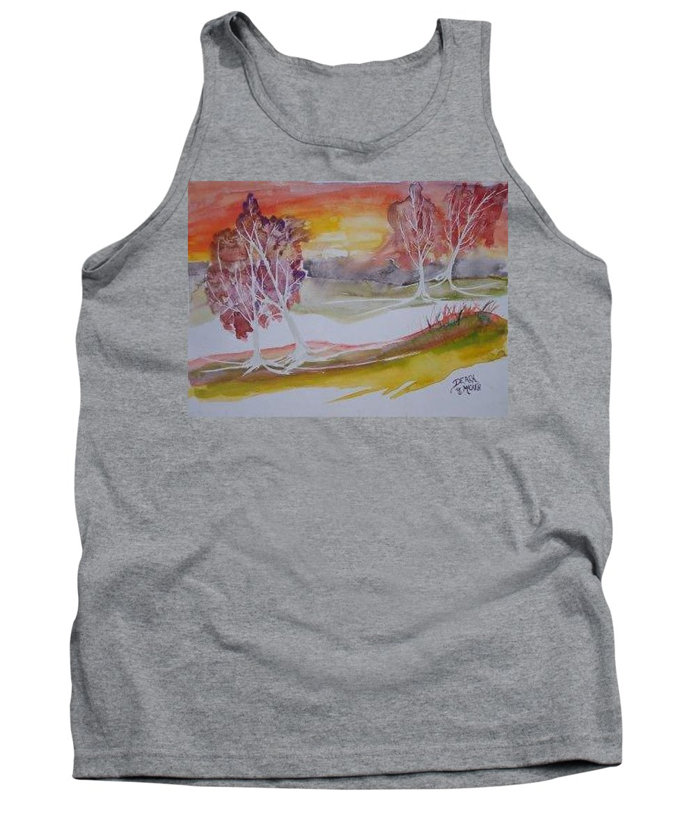 Impressionistic Tank Top featuring the painting Sunrise Surreal Modern Landscape Painting Fine Art Poster Print by Derek Mccrea