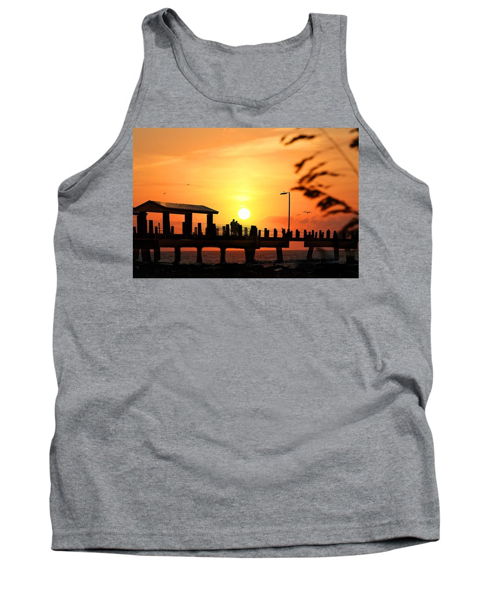 Fort De Soto Tank Top featuring the photograph Sunset At Fort De Soto Fishing Pier Pinellas County Park St. Petersburg Florida by Mal Bray