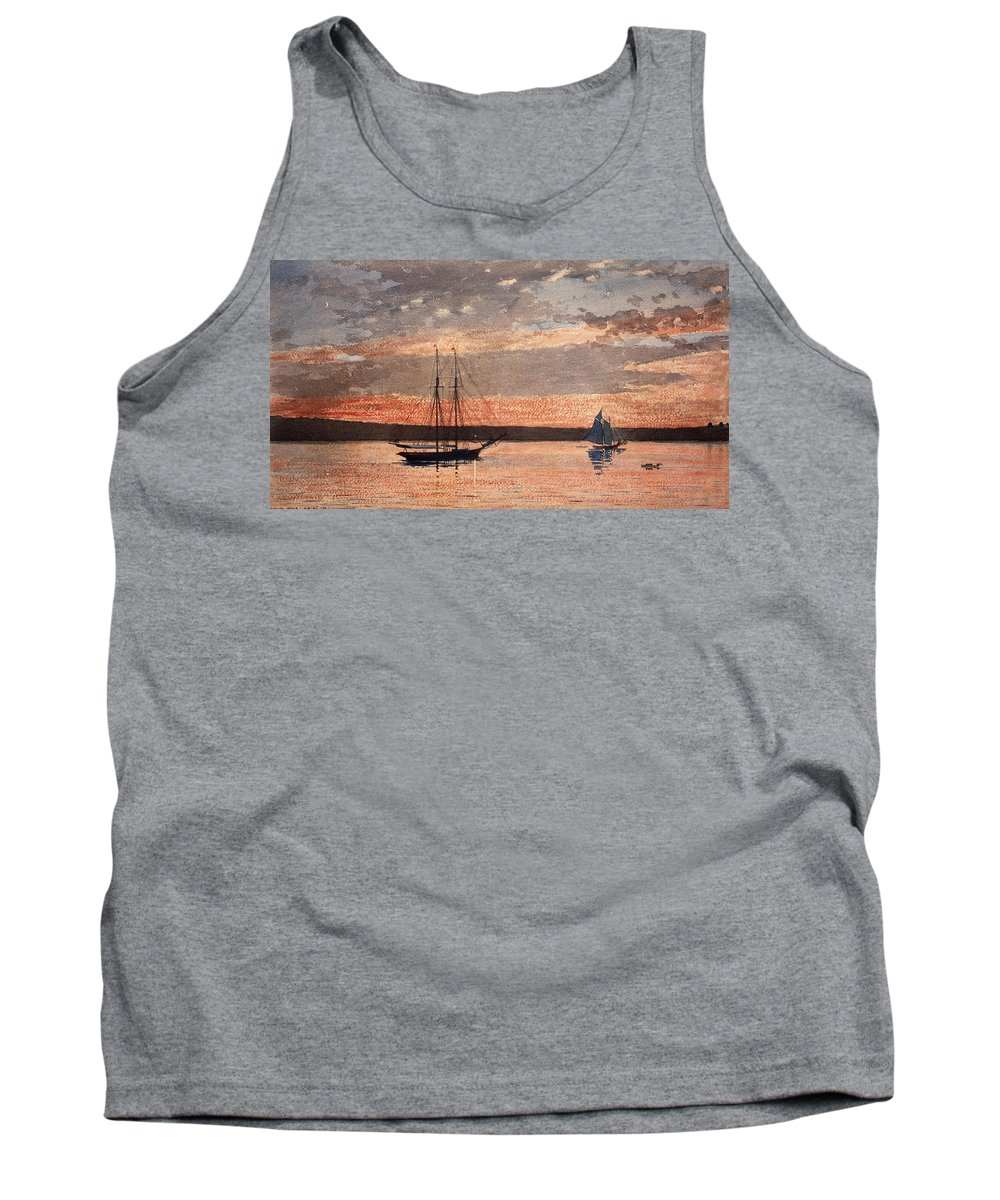 19th Century American Painters Tank Top featuring the painting Sunset At Gloucester by Winslow Homer