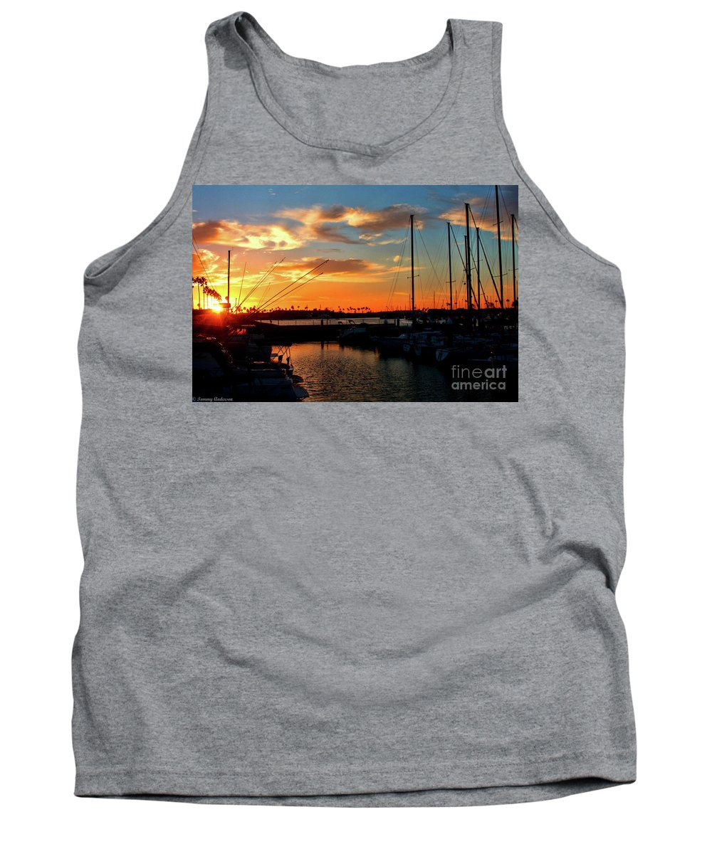 California Tank Top featuring the photograph Sunset At Newport Beach Harbor by Tommy Anderson