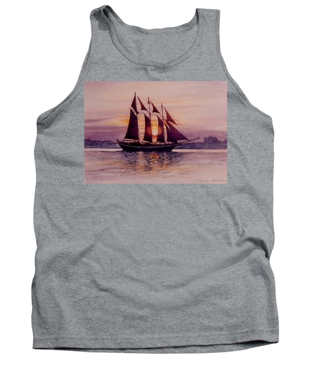 Ship Tank Top featuring the mixed media Sunset At Sea by Constance Drescher