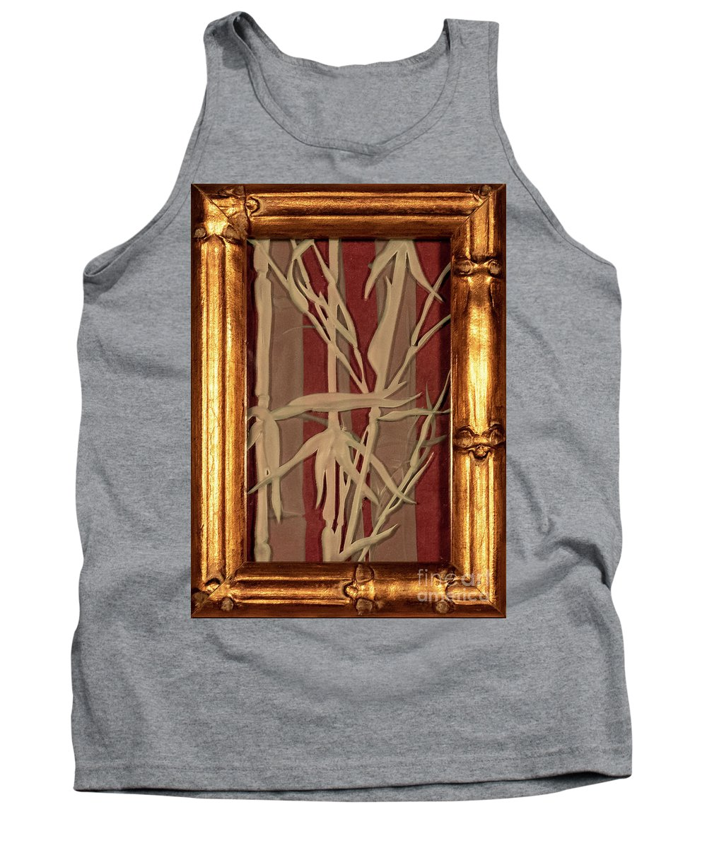 Bamboo Tank Top featuring the glass art Sunset Bamboo With Frame by Alone Larsen