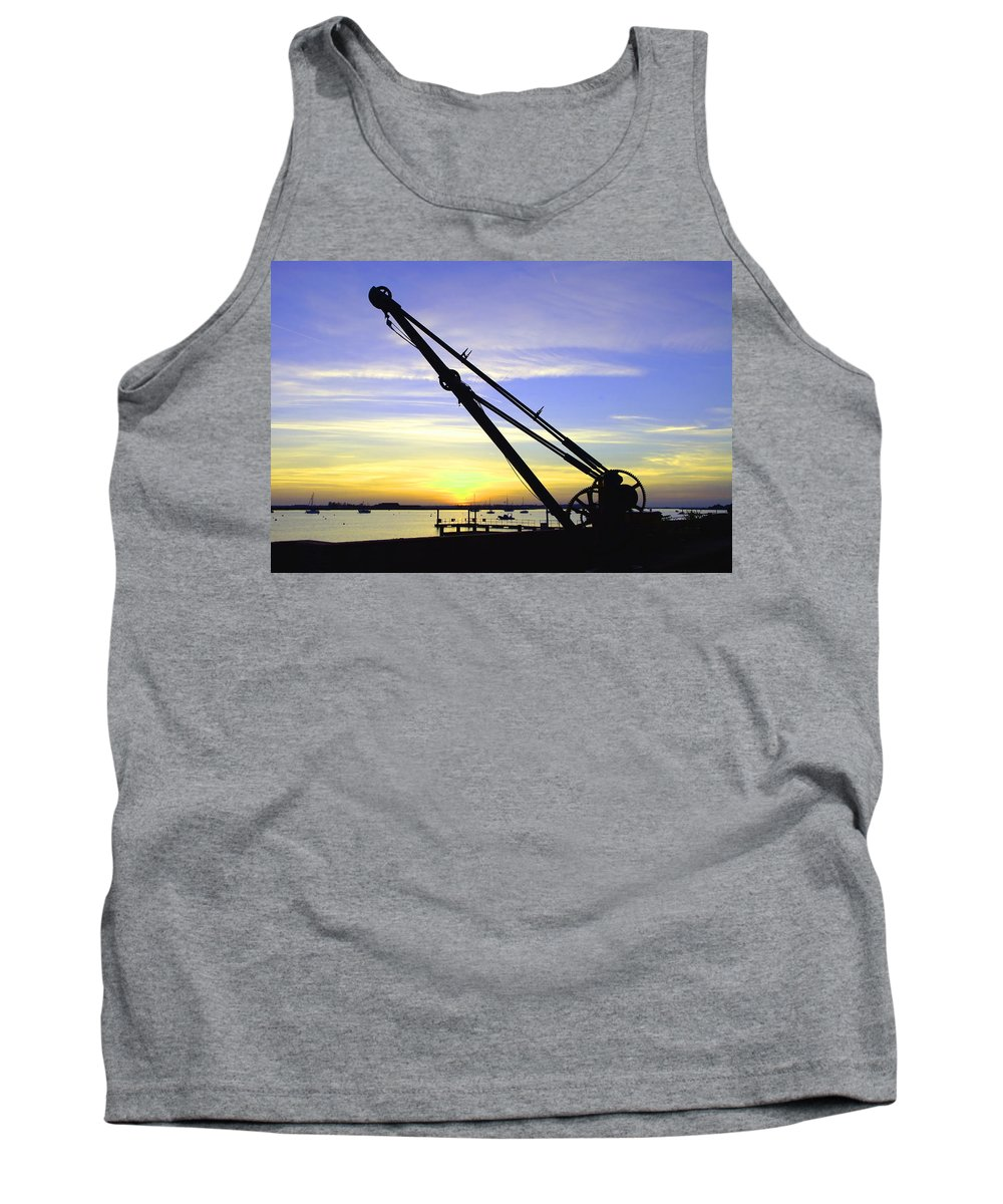 Sunset Tank Top featuring the photograph Sunset Crane by Andrew Ford