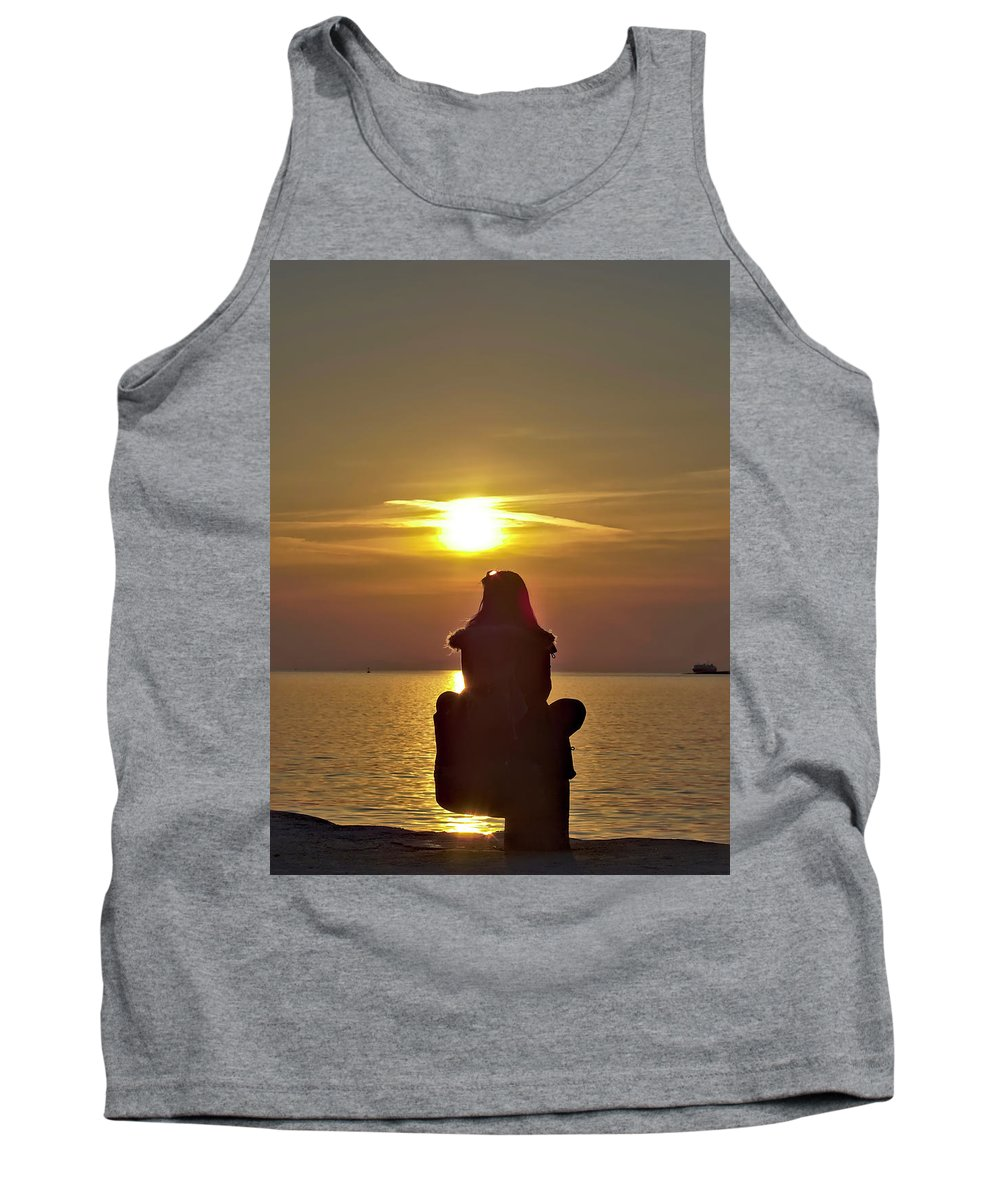Sun Tank Top featuring the photograph Sunset Girl by Jarno Holappa