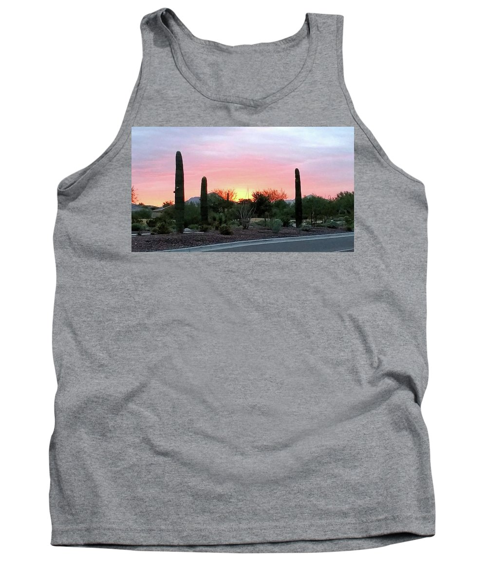 Arizona;sunset;desert Sunset;goodyear Tank Top featuring the photograph Arizona Sunset by Gail Oleaga