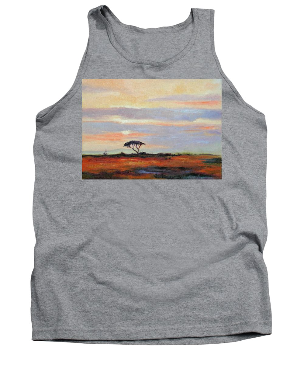 Landscape Tank Top featuring the painting Sunset On The Serengheti by Ginger Concepcion