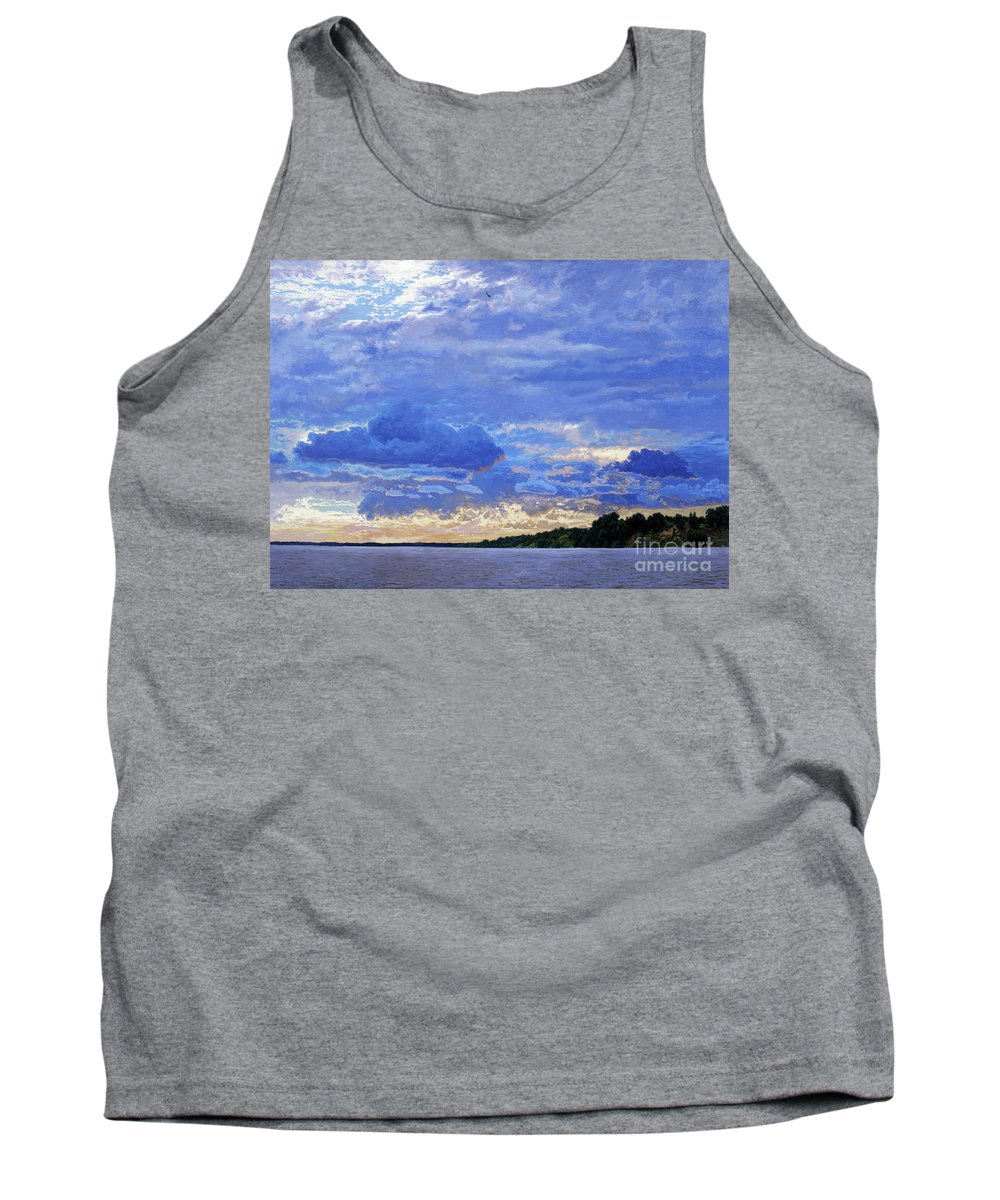 Landscapes Tank Top featuring the painting Sunset On The Volga. Gorodets by Simon Kozhin