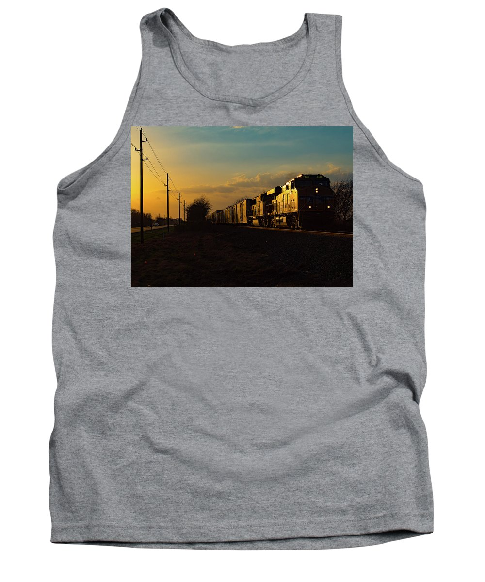 Train Tank Top featuring the photograph Sunset Route Sunset by Ryan Nicolay