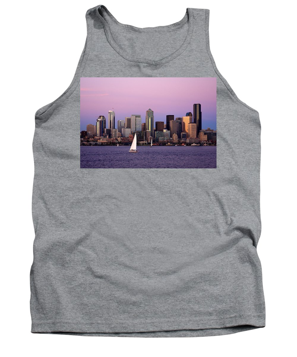 3scape Photos Tank Top featuring the photograph Sunset Sail In Puget Sound by Adam Romanowicz