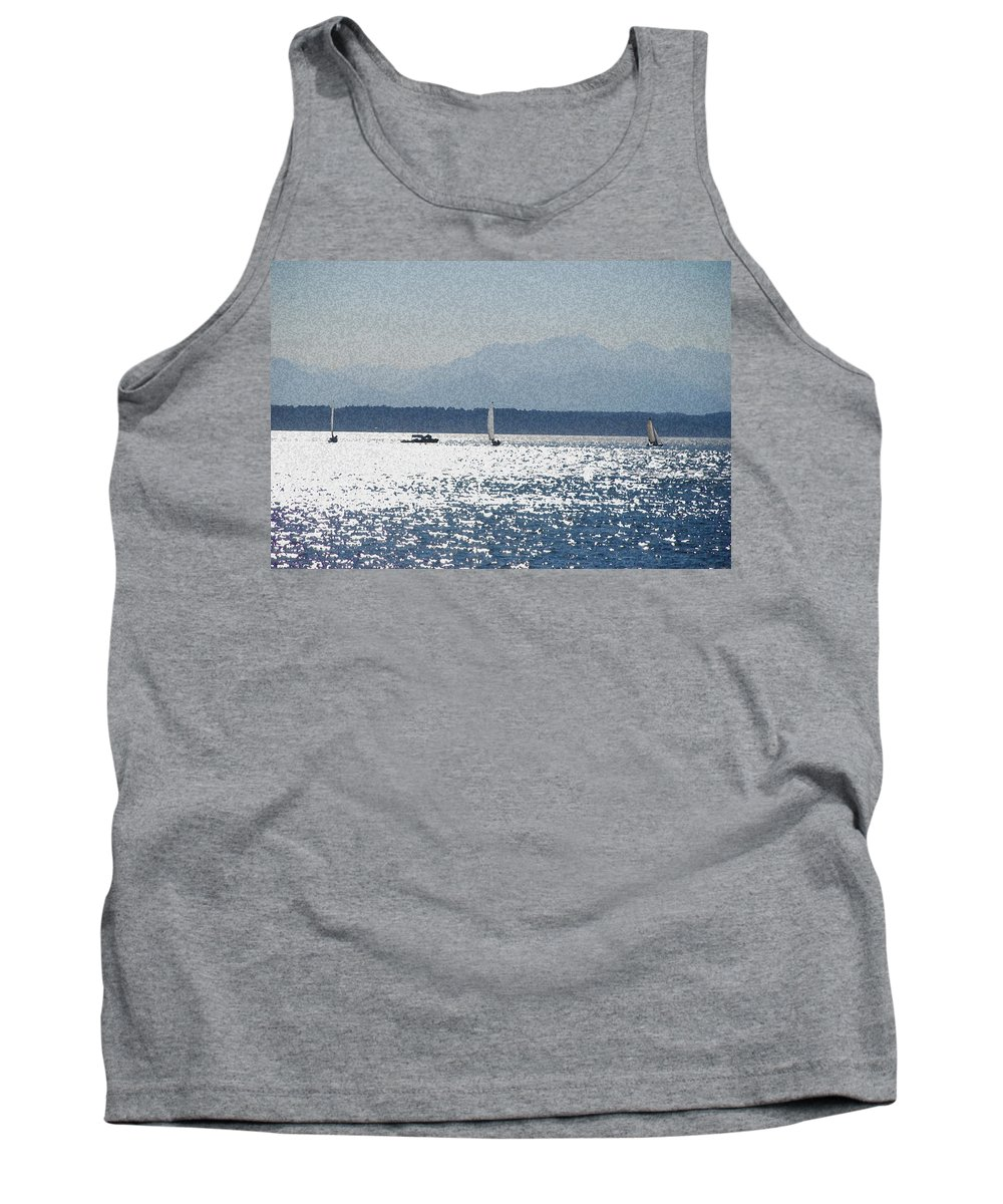 Boats Tank Top featuring the photograph Sunset Sailboats by Carol Eliassen
