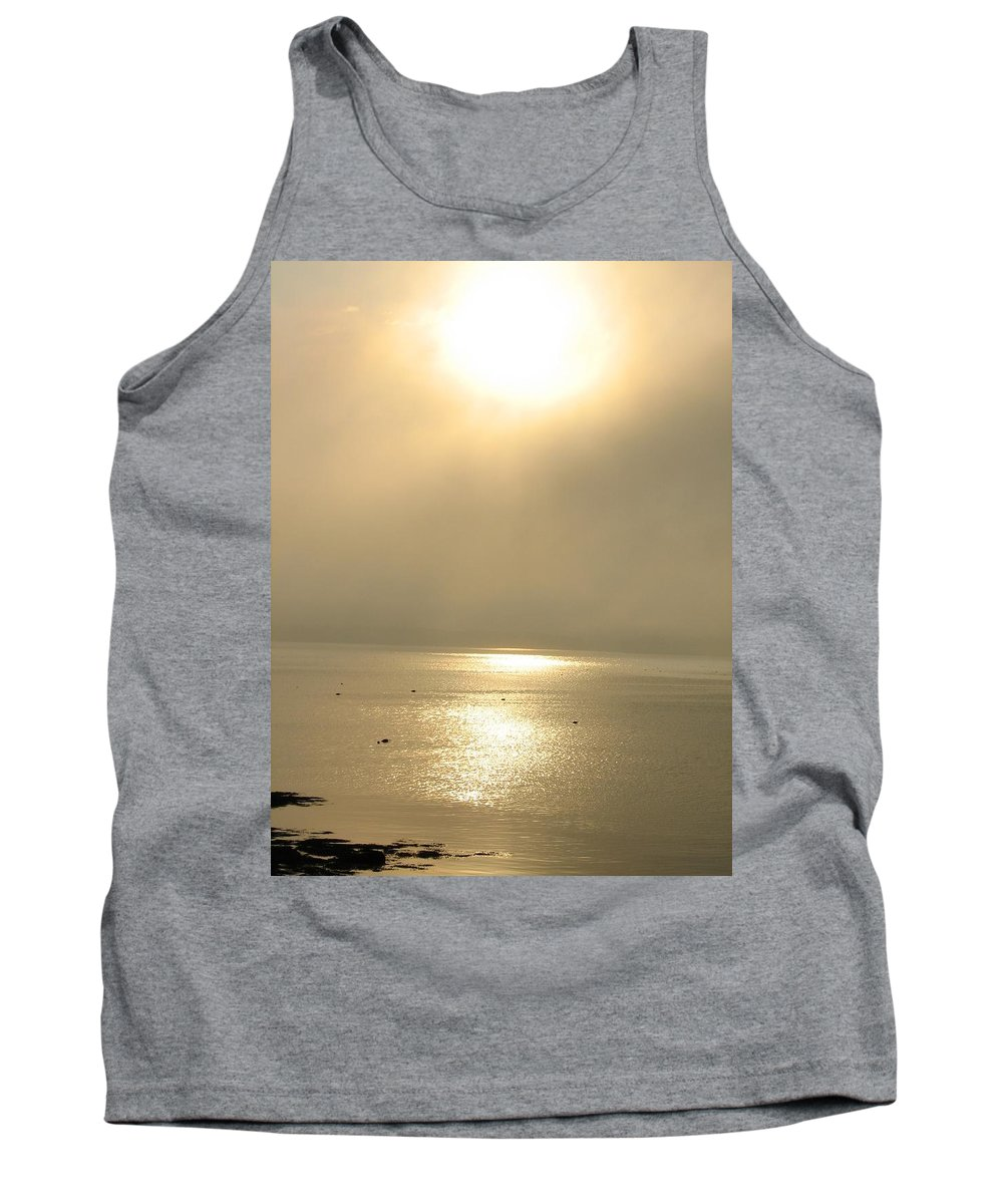 Sun Tank Top featuring the photograph Sunset Through Fog by Kelly Mezzapelle